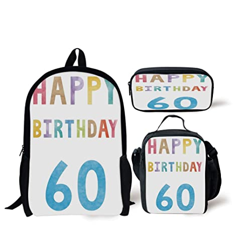 Amazon School Lunch Pen Bags60th Birthday DecorationsVintage Party For Elder In Abstract Rainbow Colors PrintMulticolorPersonalized Print