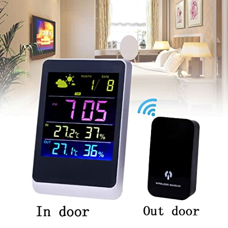 Alarm Clock Wireless Digital Weather Station with Humidity /& Temperature UK