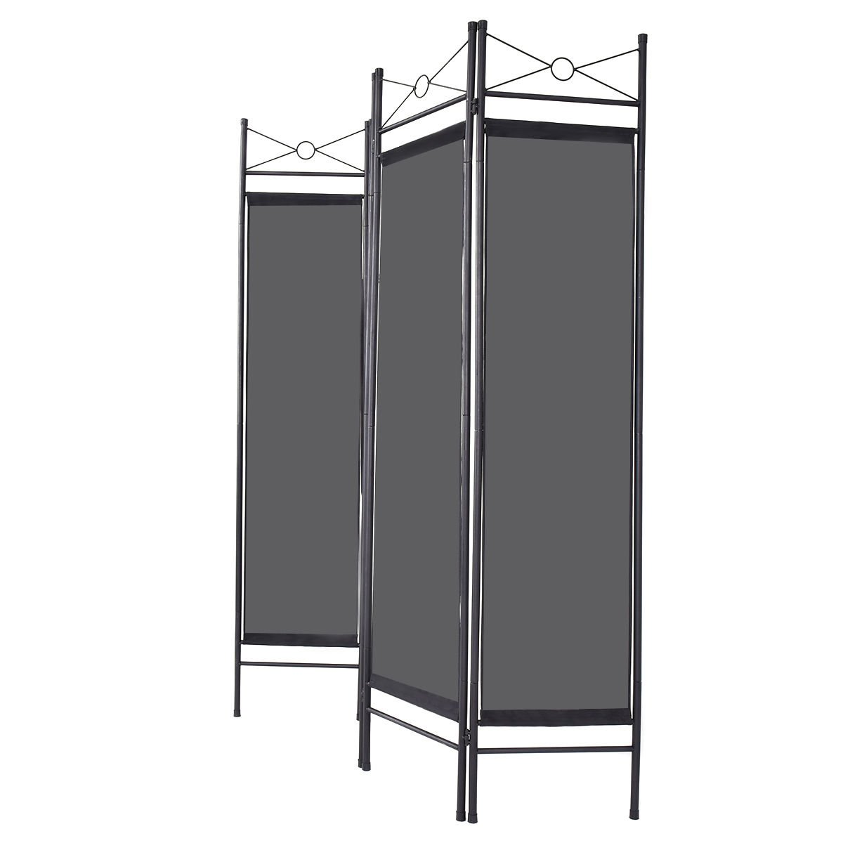 Caraya Room Divider Privacy Screen Home Office Fabric Metal Frame Black 4 Panel by Caraya (Image #3)