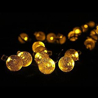 HooYL Guirnalda de Luces de Navidad 6m 30 LEDs IP65 Guirnalda Solar para Interior o Exterior, Color Amarillo