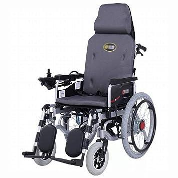 GUO Silla de Ruedas Eléctrica, Respaldo Alto, Reclinable Completo, Plegable Ligero, Silla de Ruedas para Discapacitados para Adultos,Gris,Un tamaño: ...