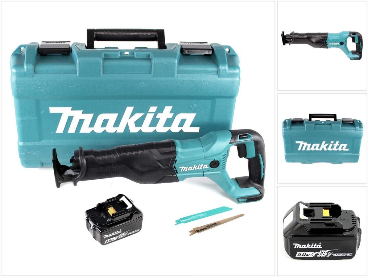 Makita DJR 186 T1K 18 V Li-Ion Akku S/äbels/äge Recipros/äge im Transportkoffer ohne Ladeger/ät mit 1x BL 1850 B 5,0 Ah Akku