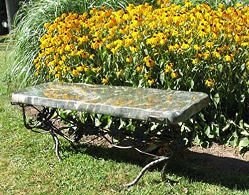 Ocean Splash Jade Stone Boulder Bench with Forged Iron Legs (Forged Legs Table Iron)