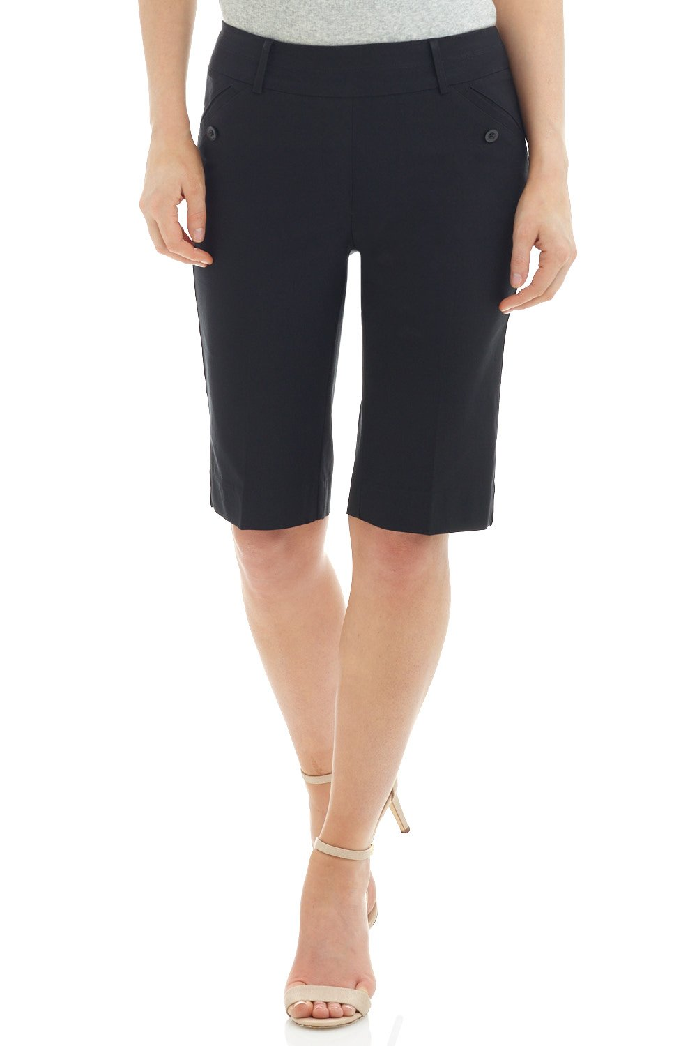 Rekucci Women's Ease in to Comfort Fit Modern Pull On Bermuda Short with Pockets (16,Black)