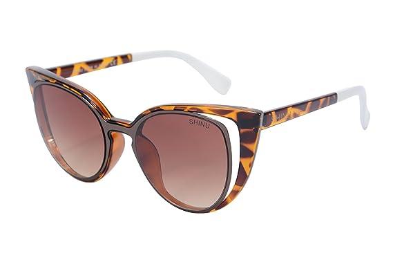 SHINU Lunettes de Soleil de Chat pour les Femmes Retro Lunettes de Cadre Rond UV400 Femmes de Protection Eyewear-SH71015 7NfbMm4G