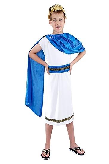 Boys Caesar Fancy Dress Costume Childs Kids Roman Emperor King Toga Greek Outfit