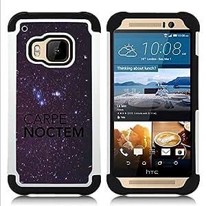 """Pulsar ( Carpe Noctem Night Sky Bright Stars"""" ) HTC One M9 /M9s / One Hima híbrida Heavy Duty Impact pesado deber de protección a los choques caso Carcasa de parachoques [Ne"""