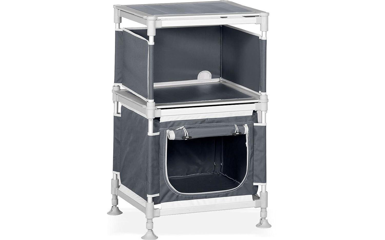 Westfield Klappbox Moducamp, grau, Alu, L 68 x B 56 x H 21 cm, halbhoch, Küchenbox, Campingschrank