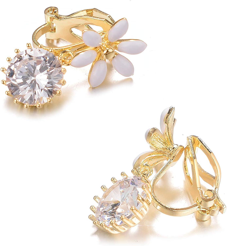 Yoursfs Fleur Boucles doreilles Clip Pendantes femme /Él/égant Bijoux de mariage Cristal Boucle doreille non perc/ée
