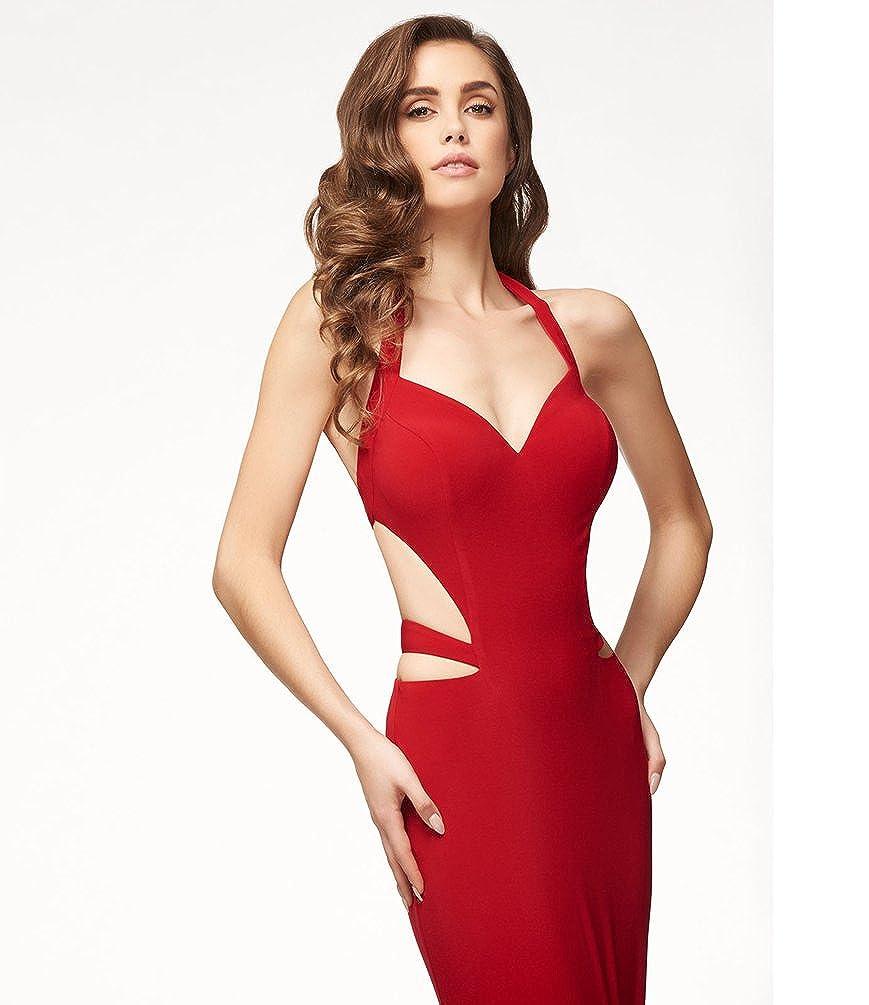 5bbe67eff873 Jitong Vestito Sirena Donna Capestro Vestiti Lungo da Cerimonia Cut Out  Collo V Matrimonio Abito da Sera: Amazon.it: Abbigliamento