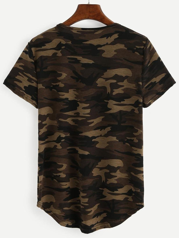 WOCACHI Damen Slim Fit T-Shirt Mode Camouflage Druck Frauen lose kurze  Hülsen Blusen beiläufige Oberseiten T-Shirt Tops (M, Camouflage):  Amazon.de: ...