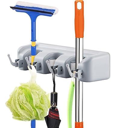 Merveilleux Cinlv 3 Position 4 Hooks Mop And Broom Holder, Broom Organizer Wall Mount Broom  Storage