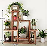 Antiseptic solid wood flower stands multi-layer combination outdoor balcony indoor plant ladder frame woody-A
