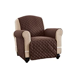 Reversible Spill Resistant Quilted Furniture Protector Cover with Ties - Covers Seat Bottom, Seat Back and 2 Seat Arms, Chocolate/Tan, Chair