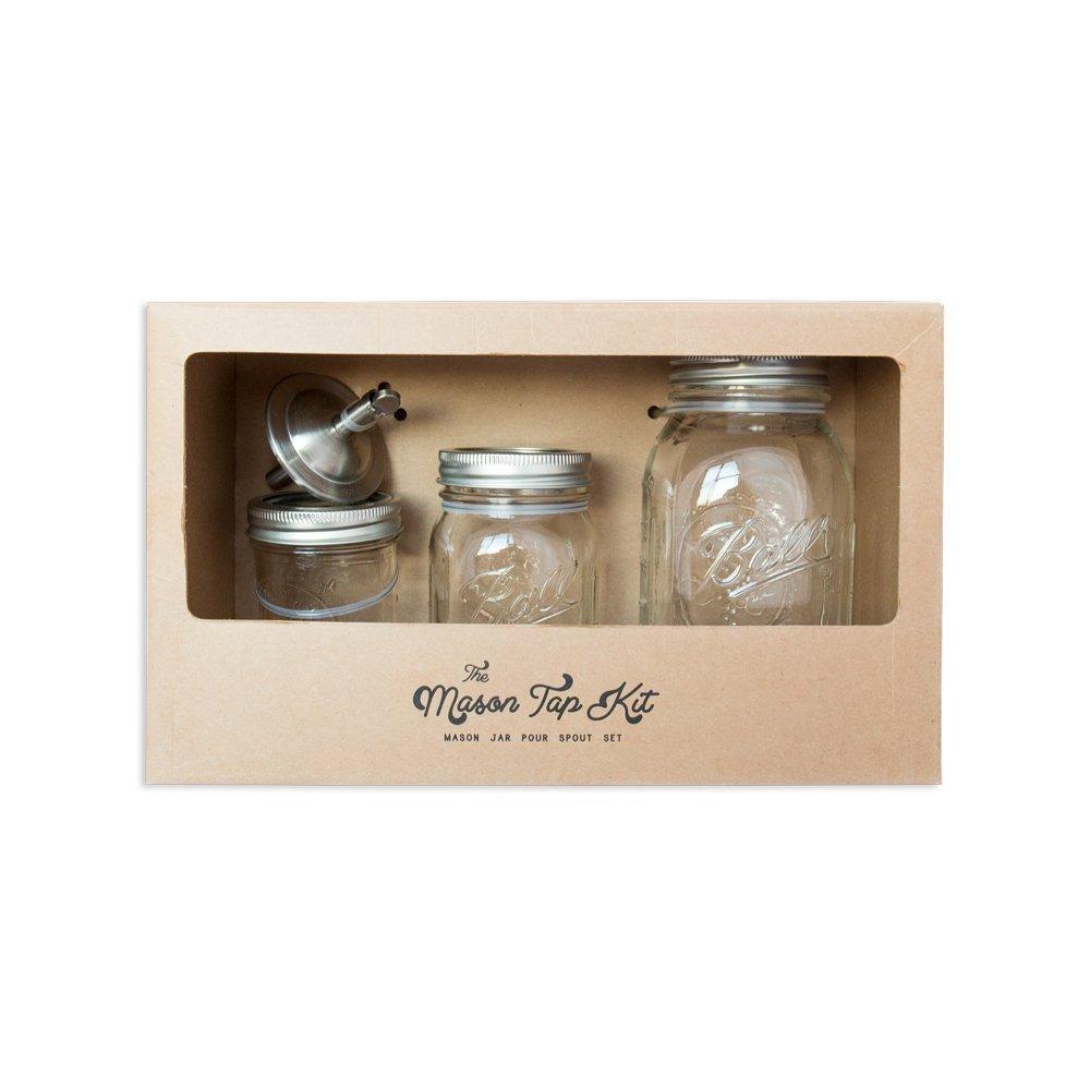 W&P MAS-TAP-KIT Mason Jar Tap Kit, w/ Mason Tap Pour Spout, 4 Pieces, Craft Cocktail Collection, Bar Tools, 8 oz, 16 oz & 32 oz Mason Jars