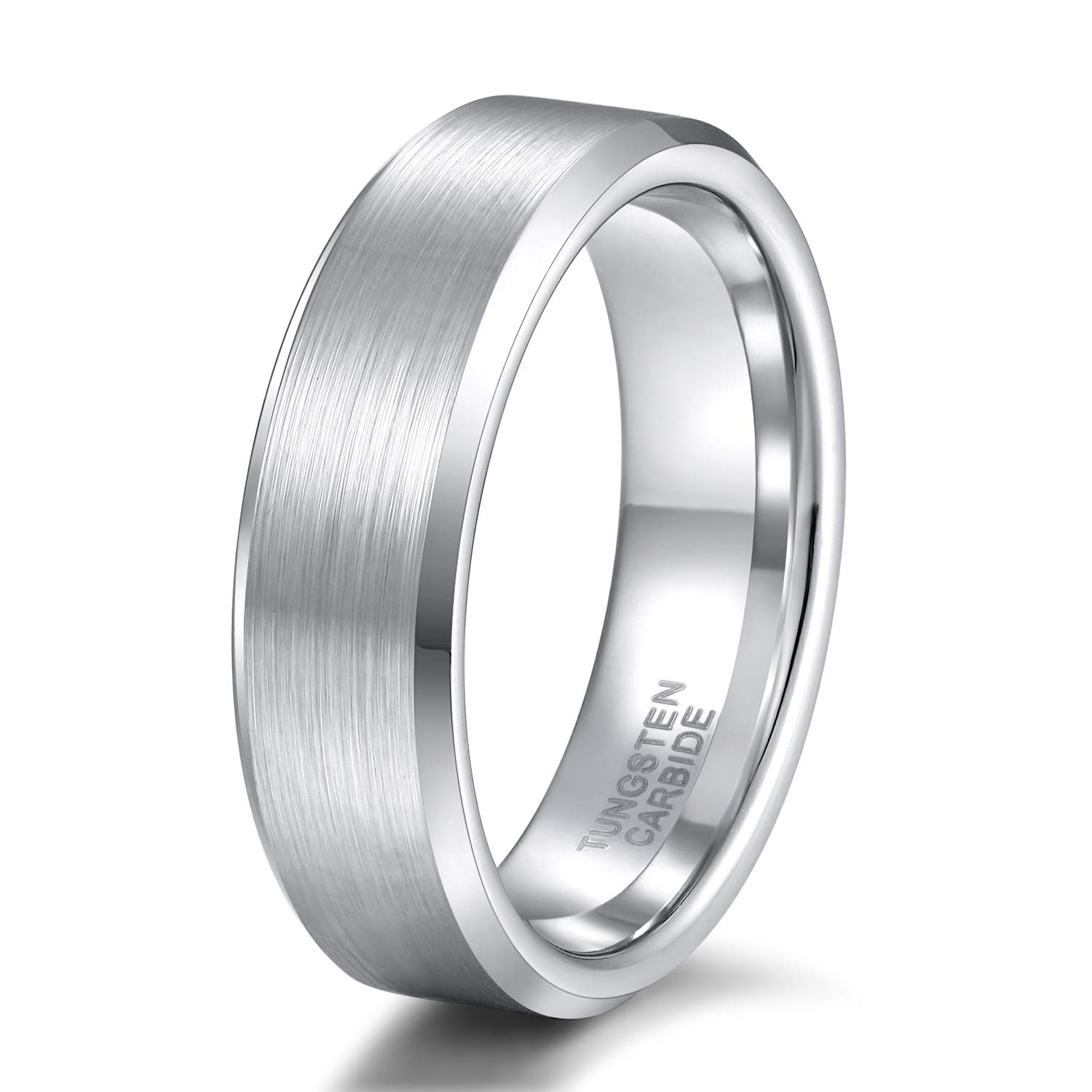 Shuremaster 4mm 6mm 8mm Tungsten Carbide Wedding Band Men Women Engraved I Love You Couple Ring Black/Silver Beveled Edges Brushed Size 4-15