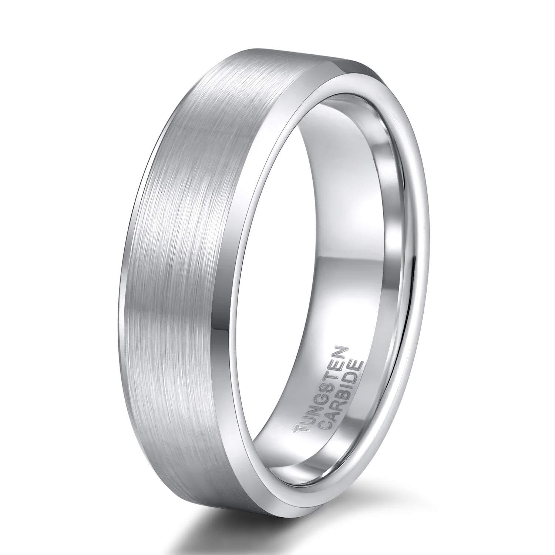 Shuremaster 4mm 6mm 8mm Tungsten Carbide Wedding Band Men Women Engraved I Love You Couple Ring Black/Silver Beveled Edges Brushed Size 4-15