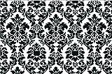Black And White Damask Fabric Door Mat Rug Indoor/Outdoor/Front Door/Shower Bathroom Doormat, Non-slip Doormats, 18-Inch by 30-Inch