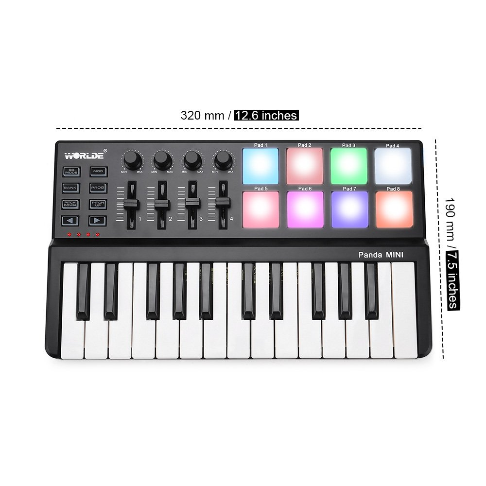 MIDI Keyboard 25 Keys, Worlde Panda MINI II USB Keyboard MIDI with 8 RGB Backllit Drum Pads, 4 Sliders and 4 Knobs by Vangoa (Image #3)
