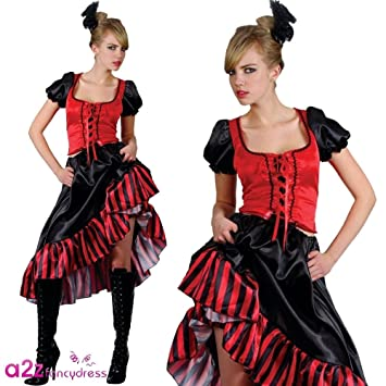 46f19d9f674 Ladies Large Can Can Saloon Girl Red Outfit Costume for Moulin Rouge Wild  West Fancy Dress