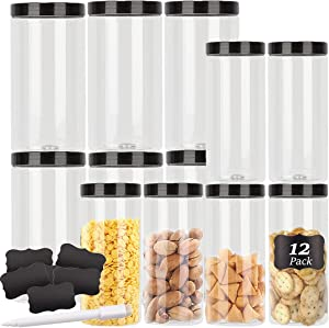 [12 Pack] Large Clear Plastic Jars with Lids BPA Free, 32 Oz & 16 Oz Airtight Empty Plastic Storage Containers with Lids Labels Kitchen & Pantry use