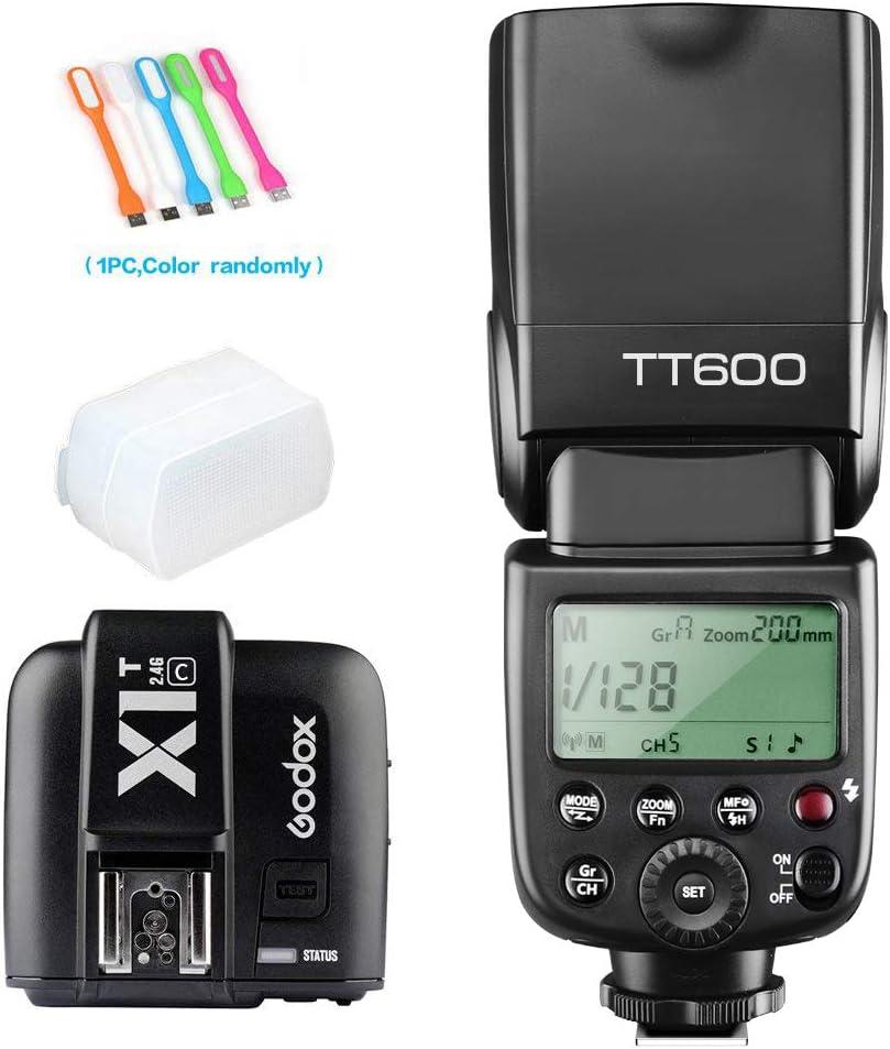 B019MPMHMW Godox TT600 High Speed Sync 2.4G Wireless Camera Flash Speedlite light with X1T-C Remote Trigger Transmitter Compatible for Canon & Diffuer & CONXTRUE USB LED 61pv5LyQ1yL.SL1000_
