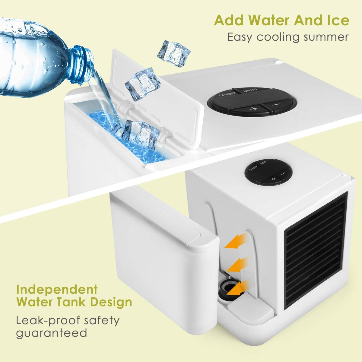 with 3 Speeds and 7 Colors LED Night Light Desktop Cooling Fan for Household Office and Outdoors Purifier Humidifier 3 in 1 Mini USB Air Conditioner Personal Space Air Cooler