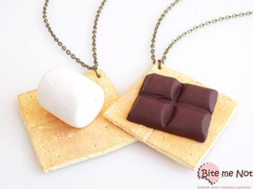 Best Friends Jewelry Scented,Couples gift Foodie,Kawaii Jewelry Smores Necklaces Scented Friendship Necklaces Set of 2 Personalized