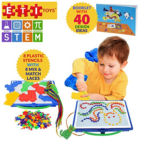 ETI Toys Lace and Pegs Kit for Boys and Girls 368 Piece set for Making Endless Creative Combinations! Great for Learning, Developing and Having Fun. Make Your Imagination Today!