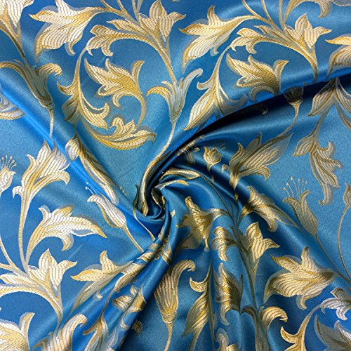 (Jacquard Damask Bloom Brocade Fabric 118'' Wide (Turquoise / Gold) )