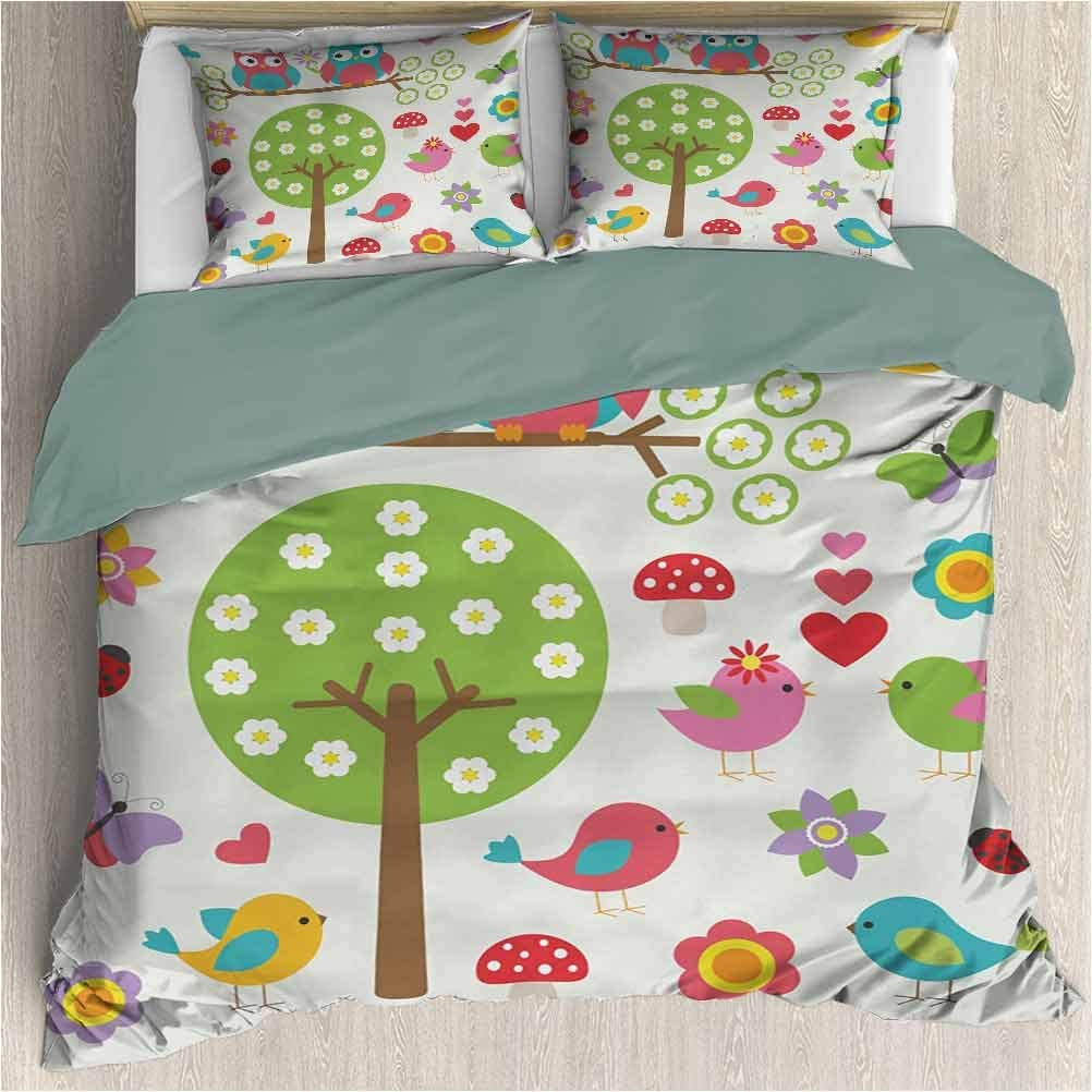 House Duvet Cover Set - Nursery Birds and Owls in Spring Forest Colorful Lively Garden Blooms Nature Inspired Cute - Decorative 3 Piece Bedding Set with 2 Pillow Shams - Cal King - Multicolor