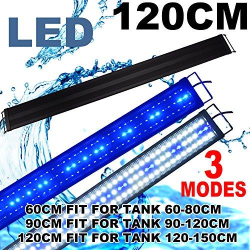 (Zeiger Eco Aquarium Hood Led Lighting Fish Tank Light, White and Blue Adjustable 48'' - 60