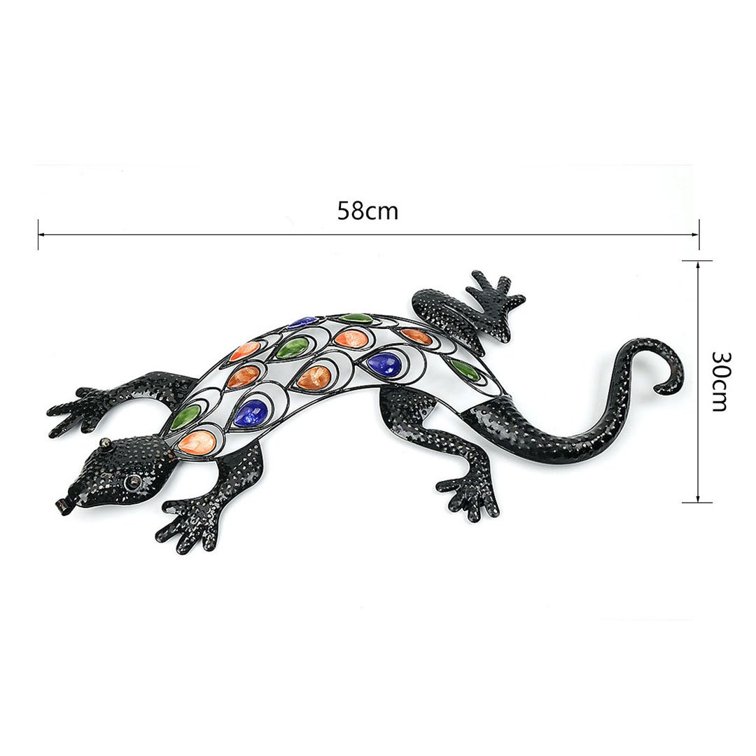 Decorative Giant Metal Gecko Garden Wall Art 63CM * 29CM with Multicolored Beads Newsky