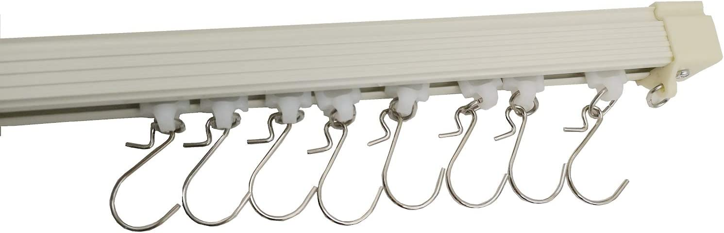 Curtain and Drapery Ceiling Track Set with Hooks 2 Meter 6.5 ft