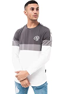 73e7973727c2 Crosshatch Mens Long Sleeve Top Printed Embroidery Crew Neck Fashion Top Tee