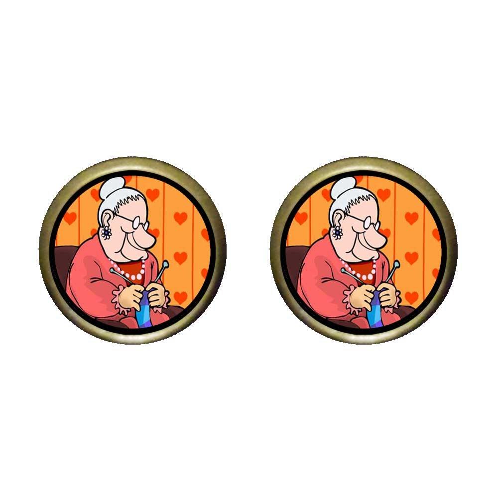 GiftJewelryShop Bronze Retro Style Knitting Grandma Photo Stud Earrings 12mm Diameter