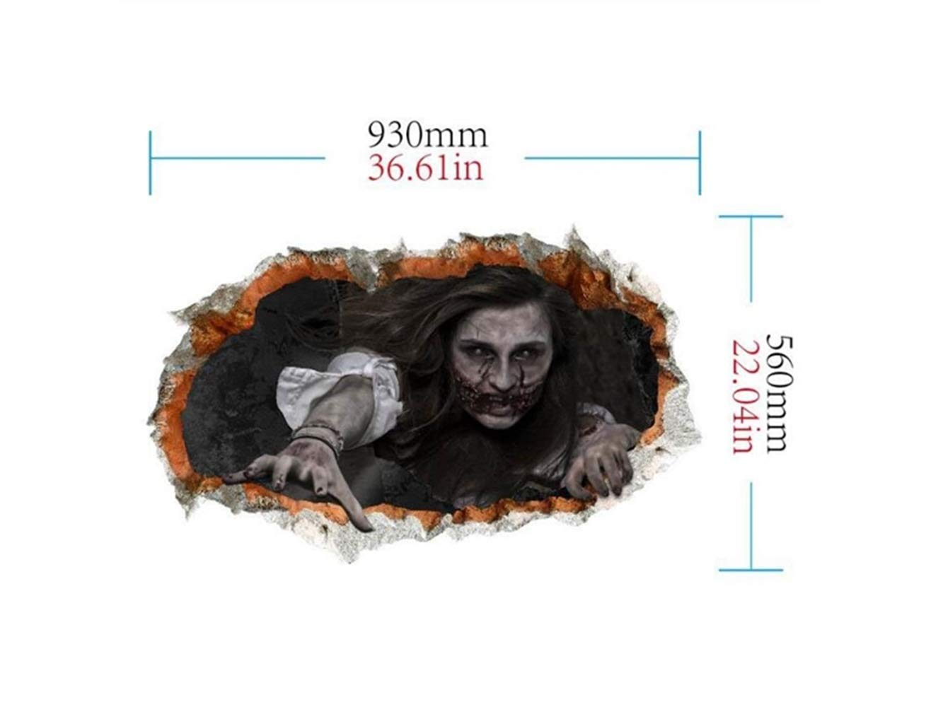 Yuchoi Funny New Halloween 3D Horror Wall Mirror Window Stickers Removable