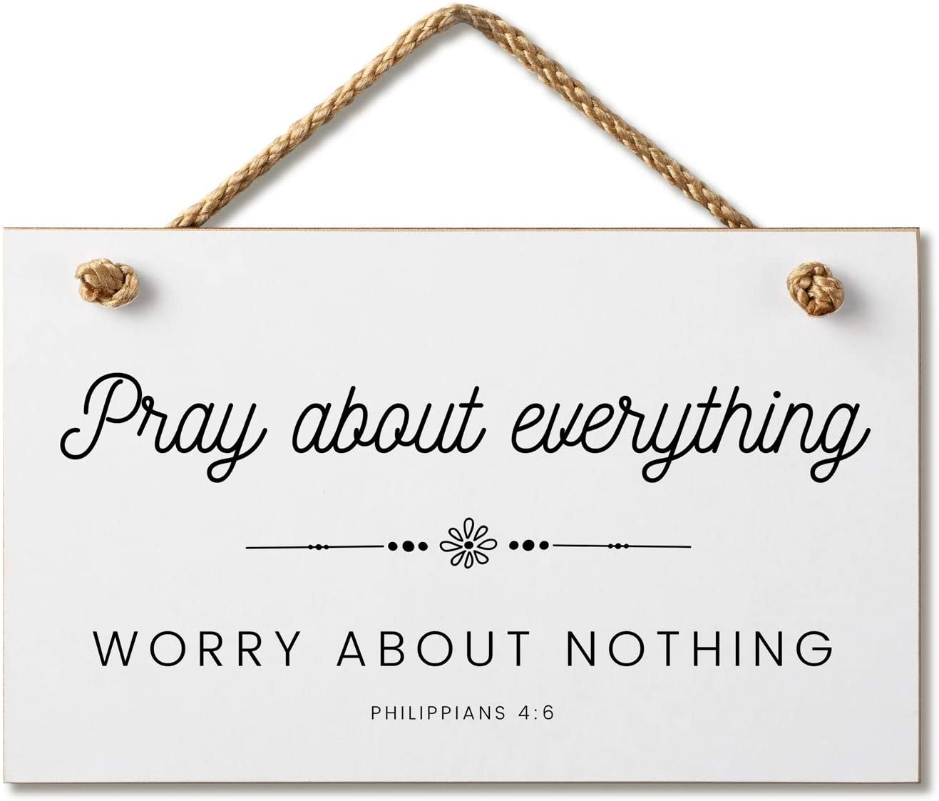 Marvin Gardens Designs Farmhouse Style Bible Verse Wall Decor Wood Sign 9.5 x 5.5 Inch Wood Made in The USA (Pray About Everything (White), 9.5 x 5.5)