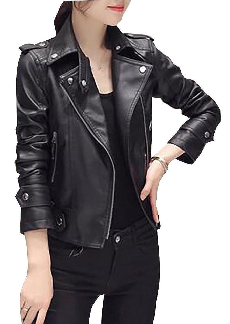 Gocgt Womens Plus Size Slim Fit Lapel Faux Leather Moto Zipper Jacket Coat