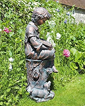 Small Garden Statues Bronze Reading Boy Figure Sculpture Amazon