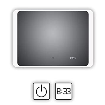 LED Cuarto de baño espejo con reloj digital integrado, Kiel 80 x 60 cm, cuarto de baño espejo horizontal LED iluminado alrededor, clase energética A +: ...