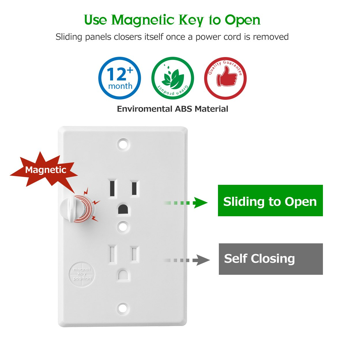 Baban Upgrade Baby Socket Cover Set with Magnetic Key Standard US Regulation Baby Safety Outlet Cover Universal Self-Closing Child Guards Socket Plugs Protector Flame Retardant ABS