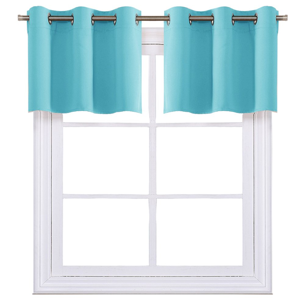 NICETOWN Black Small Window Valances Curtains - Thermal Insulated Home Decor Blackout Grommet Tier Curtains Drapesv for Basement Windows (42W by 18L Inches,2 Pieces) Nicetown_Valance_BLK