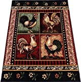 Roosters Kitchen carpet Woven 6×8 Area Rug Black Actual Size 5'2 x 7'2 Review