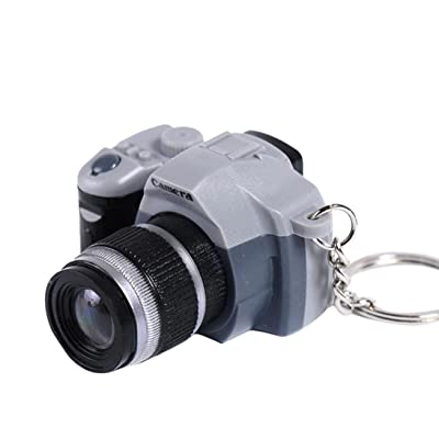Gbell Mini LED Light Camera Keychain,Charm Sound Effect Keychain Kids Schoolbag Adults Cellphone Car Charm Pendant Decoration Gifts (Gray): Sports & Outdoors