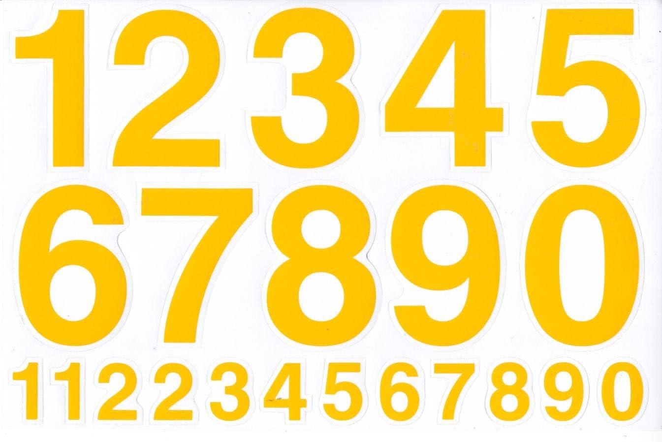 Numeri numeri giallo 70/mm numeri adesivi 1/fogli 270/mm x 180/mm
