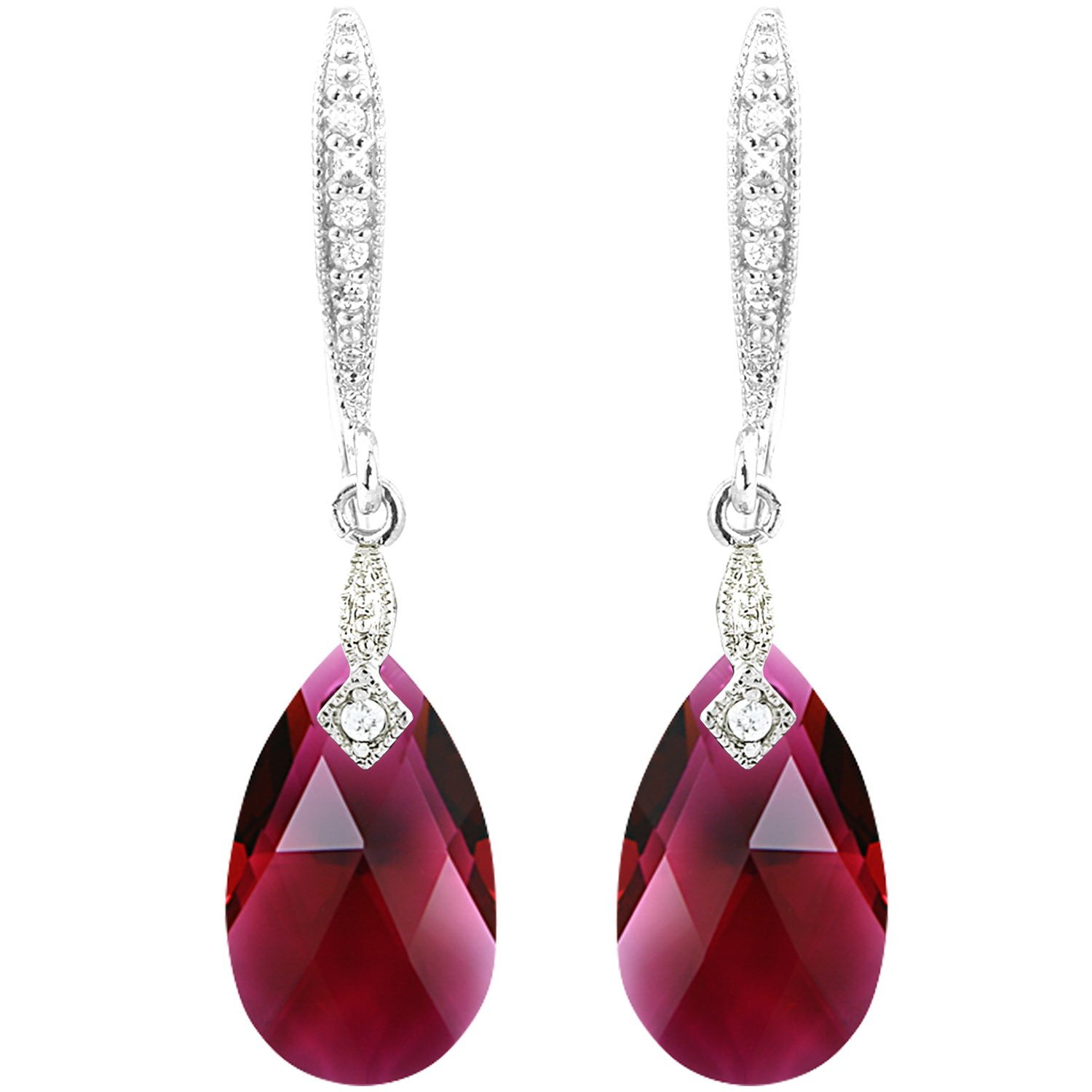 Amazon.com  Red Swarovski Crystal Drops - Necklace Earrings Drops Jewelry  Set - Silver Tone  Jewelry 6bcbb6a1eb