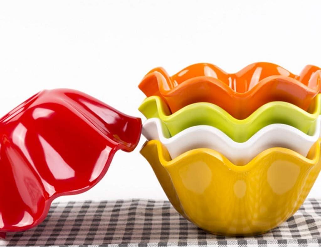 58SD Creative Large Plastic Salad Bowl Home Wave Lace Bowl Melamine Fruit Tableware Color : Green, Size : 15.5cm