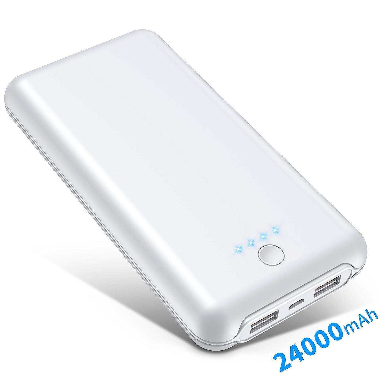 GRDE Batería Externa 24000 mAh, 4 LED Indicadores Power Bank (Doble Puerto, Doble 5V/2.1A), Carga Rápida Cargador Portátil Movil para Samsung Huawei ...