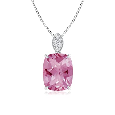 Angara Pear Natural Pink Tourmaline Necklace in 14k Rose Gold nDs2z